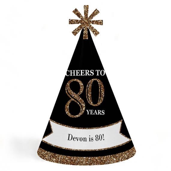 80th Birthday Party Hats Adult Gold Cone