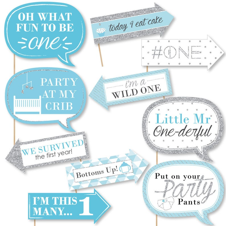 First Birthday Party Photo Booth Prop Kit 10 Photo Props /& Dowels 1st Birthday Boy Funny Fun to be One Photo Booth Props