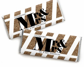 24 Count Mr. & Mrs. - Gold Custom Candy Bar Wrappers - Personalized Wedding Favors