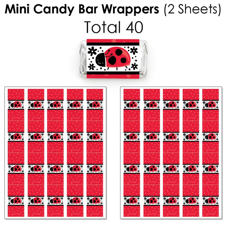 Happy Little Ladybug Party Candy Favor Sticker Kit Round Candy Stickers and Circle Stickers Mini Candy Bar Wrappers 304 Pieces
