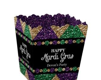 Mardi Gras Candy Boxes - Masquerade Party Favor Boxes - Set of 12