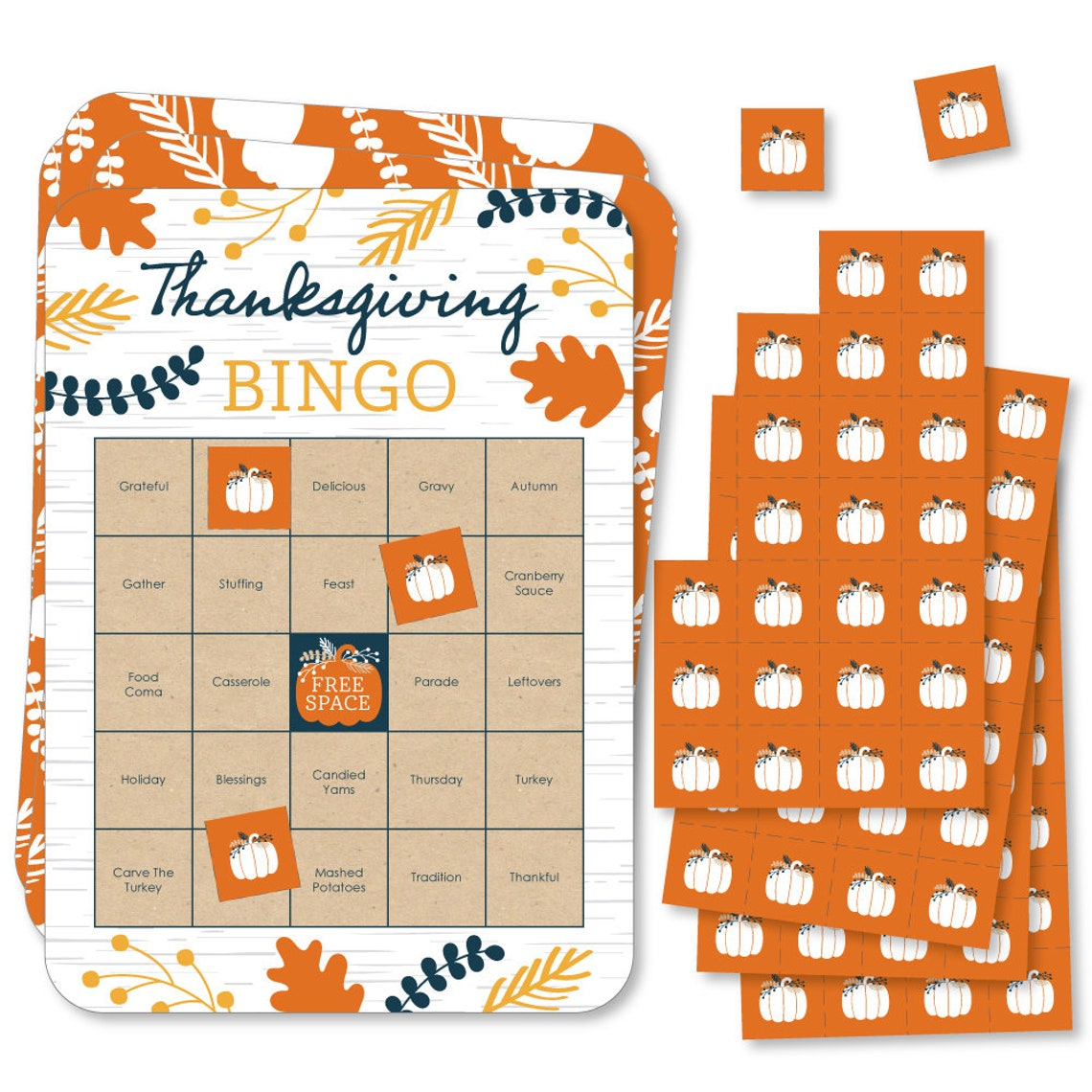 Happy Thanksgiving Bingo Cards and Markers