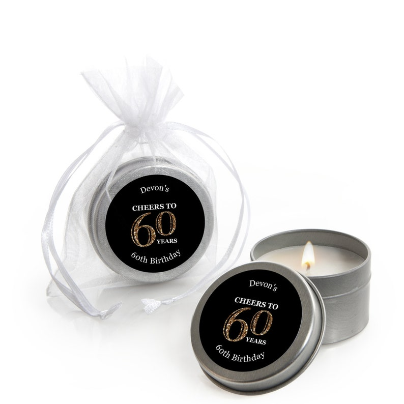 60th Birthday Candle Tin Party Favors Adult