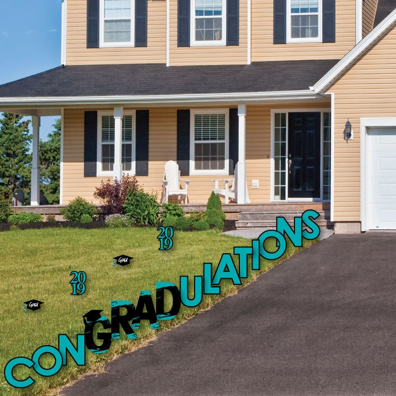 2019 Graduation Party Outdoor Lawn Decorations -Turquoise Grad Party Lawn Sign ConGRADulations Yard Sign Best is Yet to Come Teal Grad