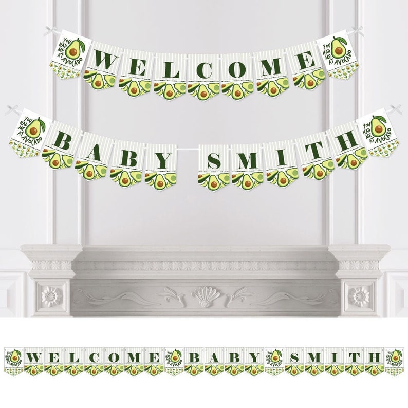 Personalized Hello Avocado Welcome Baby Custom Name Banner Custom Fiesta Baby Shower Bunting Banner /& Decorations