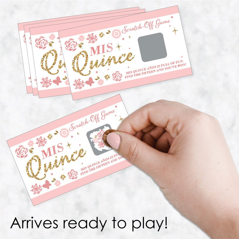 22 Count 15th Birthday Party Scratch Off Games Mis Quince Anos Quinceanera Birthday Party Game Cards Birthday Party Scratch Off Game