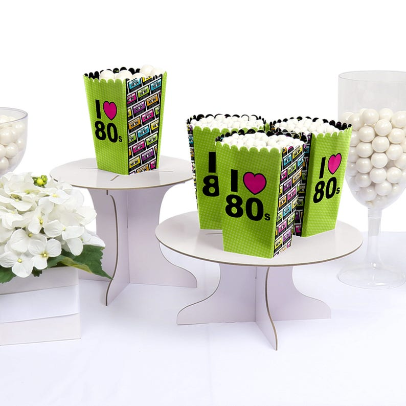 Popcorn Boxes - Movie Theatre Style Personalized Popcorn Treat Box 80/'s Retro 12 Pack I Love the 80s Totally 1980s Party Favor Box