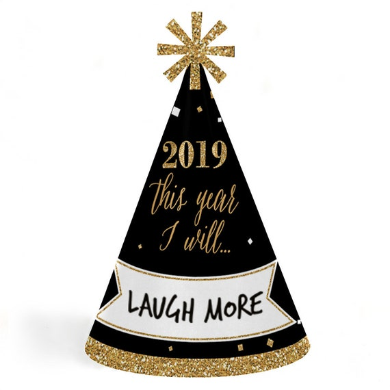 2019 New Years Resolution Party Hats New Year's Eve Gold ...