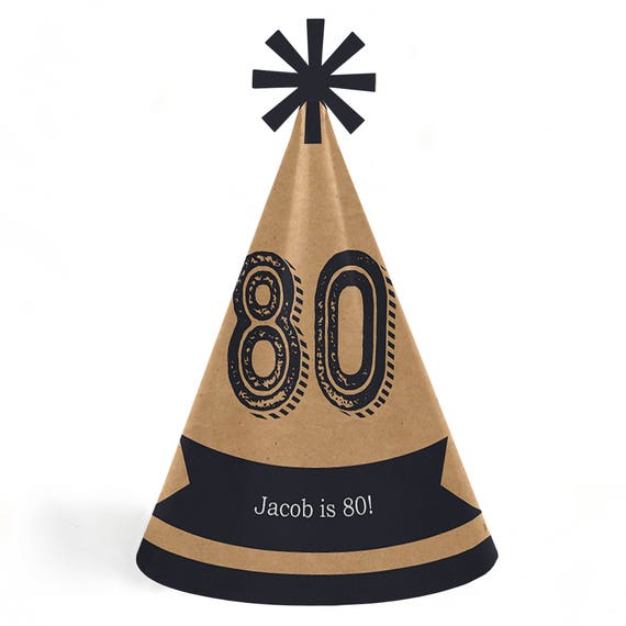 80th Birthday Aged To Perfection Party Hats Cone Happy
