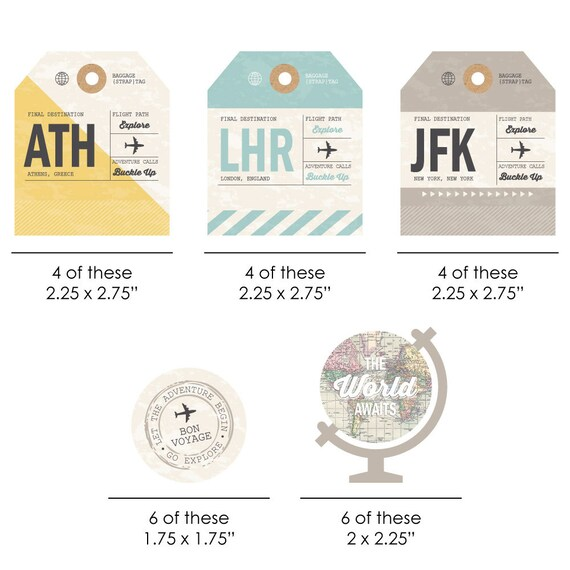 DIY Tags Birthday and Prom Party Supplies World Awaits Travel Themed 20 Ct. DIY Graduation Retirement Tags