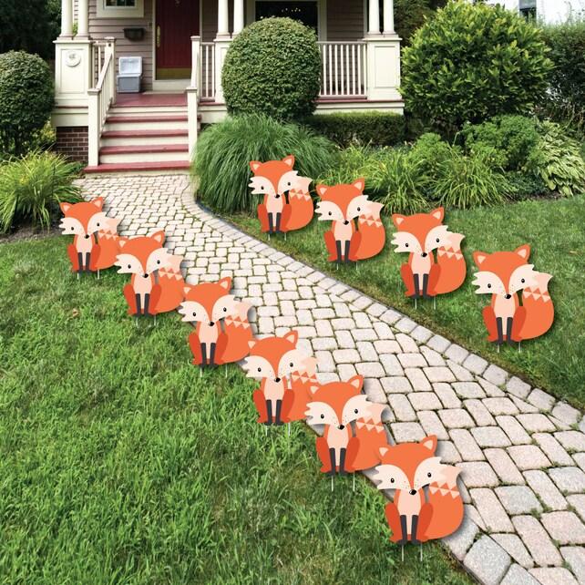 Fox - Lawn Decorations - Birthday Party Yard Decorations - Baby Shower Lawn Ornaments - Fox Shaped Yard Art - 10 Pieces