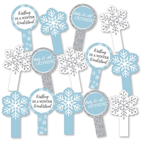 Winter Wonderland Party Paddle Photo Booth Props Selfie Etsy