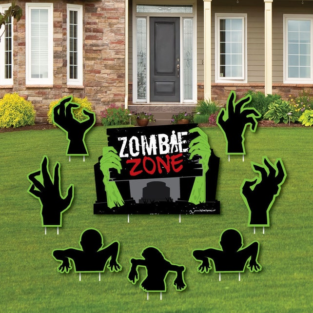 Zombie Zone - Halloween or Birthday Zombie Crawl Party Lawn Decorations - Halloween Lawn Ornaments - 8 Pc.