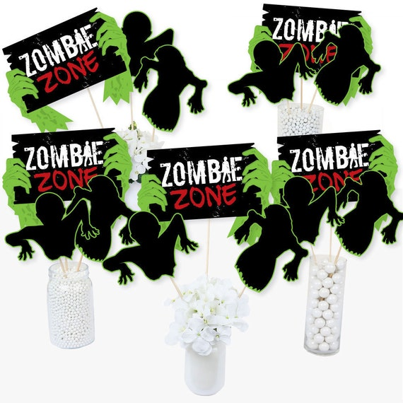 Halloween Party Supplies Centerpiece Sticks Zombie Zone Halloween or Birthday Zombie Crawl Table Toppers 15 Ct.