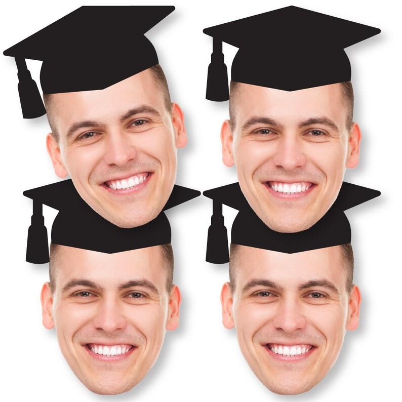 Set of 20 Grad Cap Fun Face Cutout Decorations DIY Custom Graduation Photo Head Cut Out Cut Out Essentials Upload 1 Photo