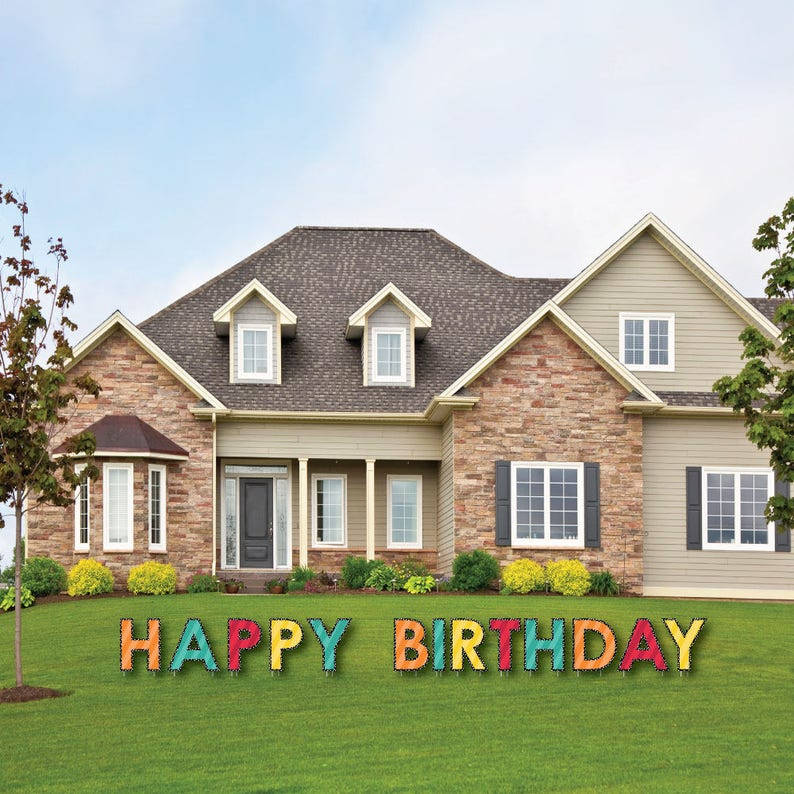 Colorful HAPPY BIRTHDAY Yard Sign Outdoor Birthday