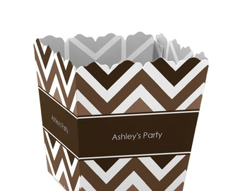 Chevron Brown - Party Mini Favor Boxes - Custom Petite Candy Boxes - Baby Shower Treat Box - Birthday Favor Box - Bridal Supplies -Set of 12