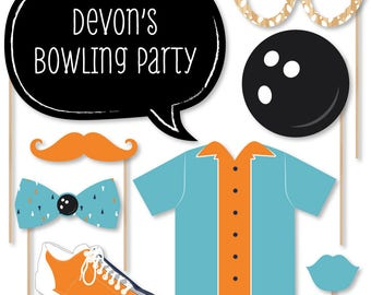 Strike Up the Fun - Bowling - Photo Booth Props - Photobooth Kit with Custom Talk Bubbles - Baby Shower or Birthday Prop Kit - 20 Pcs