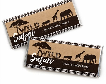 Wild Safari Custom Candy Bar Wrappers - African Jungle Personalized Baby Shower and Birthday Party Favors - 24 Ct.