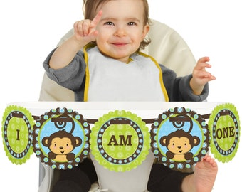 Blue Monkey Boy - 1st Birthday - I Am One - First Birthday High Chair Banner - First Birthday Party Decorations