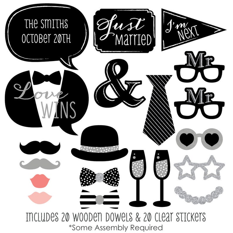 Glasses and Custom Talk Bubble /& Mr LGBTQ Kit with Mustache Hat Gay Wedding Photo Booth Props 20 pc Bow Tie - Silver Mr
