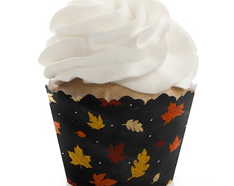 Fall Cupcake Wrappers - Baby Shower Cupcake Decorations - Birthday Party Cupcake Supplies - Set of 12 Cupcake Liners