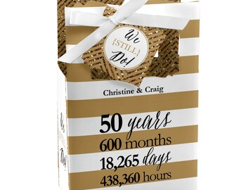 We Still Do - 50th Wedding Anniversary Favor Boxes - Custom Anniversary Party Supplies - Set of 12