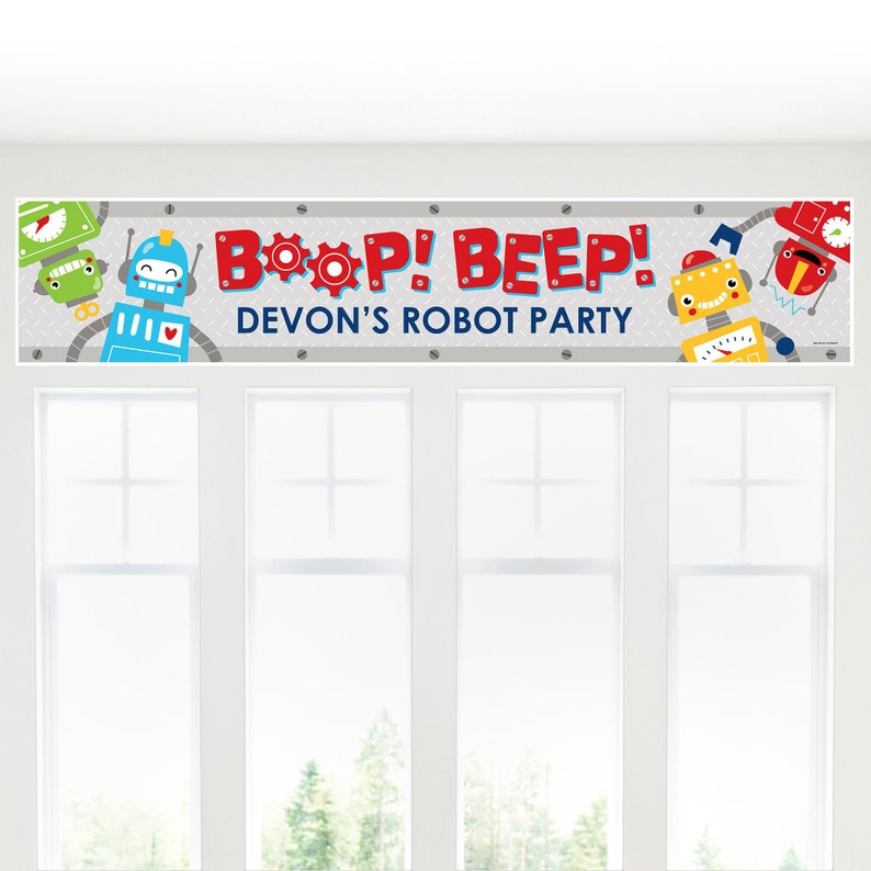 Personalized Birthday Party or Baby Shower Banner Gear Up Robots
