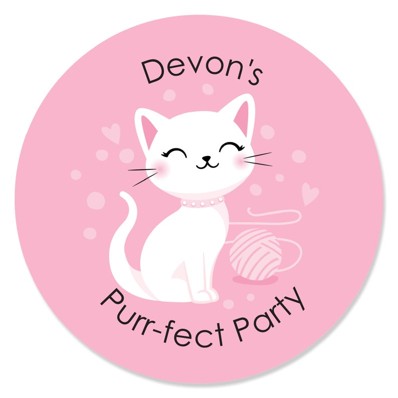 Kitten Meow Baby Shower or Birthday Party Circle Sticker Labels Purr-fect Kitty Cat 24 Count