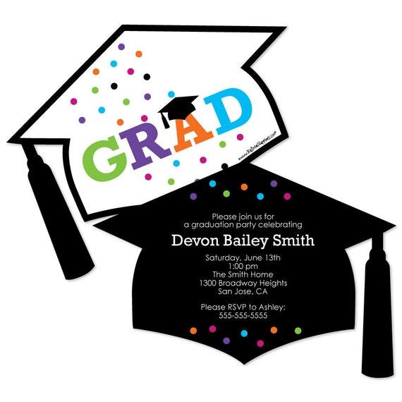 Hats Off Grad Shaped Graduation Invitations Custom Graduation