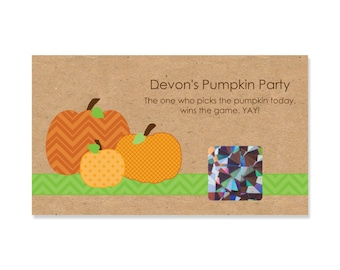 22 Scratch Off Game Cards - Pumpkin Patch Fall or Thanksgiving Baby Shower Games