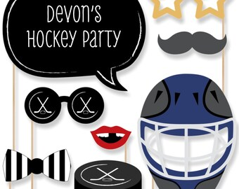 20 Shoots & Scores -  Photo Booth Props - Hockey Photobooth Kit with Custom Talk Bubbles for Baby Shower or Birthday Party