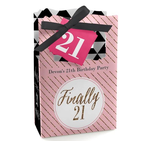 21st Birthday Party Favor Boxes Custom Finally 21 Girl