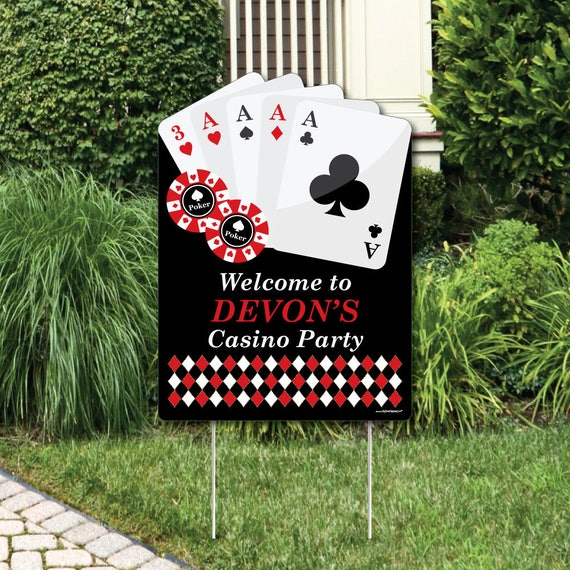 Las Vegas Welcome Sign Casino Party Outdoor Lawn Decorations Poker Night Party Decoration High Roller Party Theme Office Party Ideas