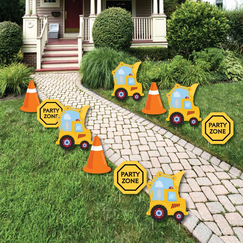 Construction Truck Lawn Decorations Outdoor Baby Shower Or