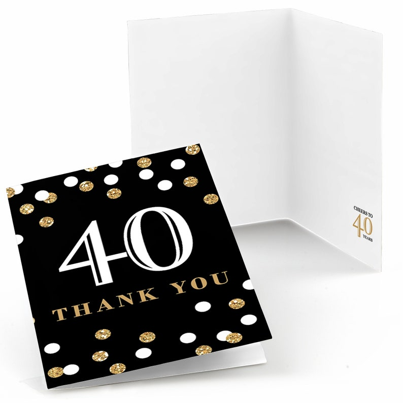 Birthday Party Thank You/'s Set of 8 Folding Note Cards Adult 40th Birthday Gold Thank You Cards 40th Birthday Thank You Cards