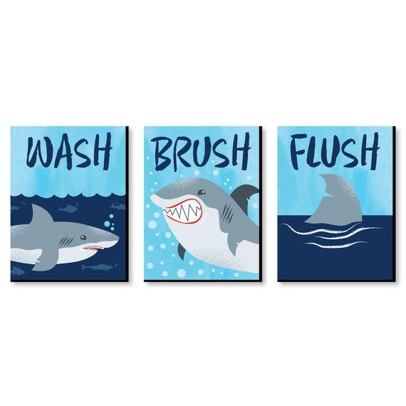 Shark Zone Kids Bathroom Rules Wall Art Décor 7 5 X 10 Etsy
