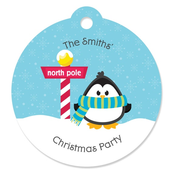 Holiday /& Christmas Circle Sticker Labels 24 Count Big Dot of Happiness Holly Jolly Penguin