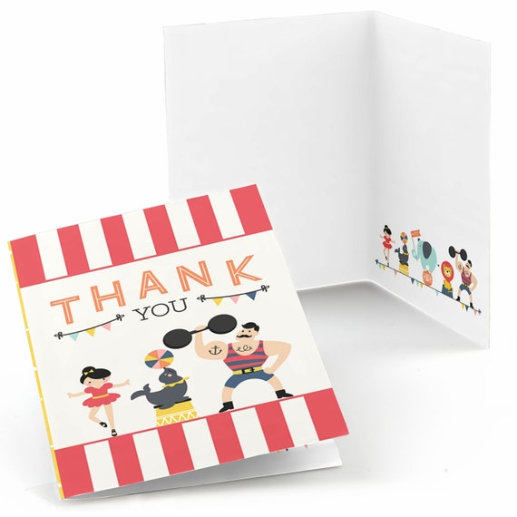 Circus Carnival Thank You Cards Vintage Circus Thank You Etsy