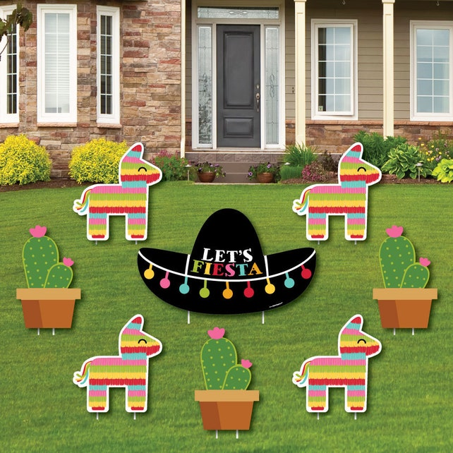 Let's Fiesta Shaped Lawn Decorations - Outdoor Cinco de Mayo Decorations - Mexican Fiesta Party Lawn Ornaments - Shaped Yard Art - 8 Pc.