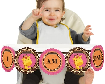 Girl Giraffe - 1st Birthday - I Am One - First Birthday High Chair Banner - First Birthday Party Decorations