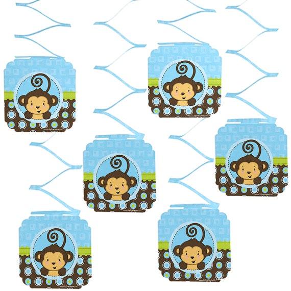Blue Monkey Boy Hanging Decorations Boy Monkey Party Supplies