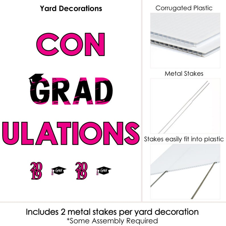 ConGRADulations Yard Sign Best is Yet to Come Pink Grad Party Lawn Sign 2019 Graduation Party Outdoor Lawn Decorations Pink Grad