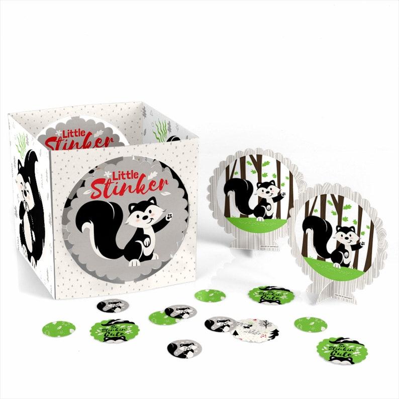 Woodland Skunk Little Stinker 39 Ct Skunk Birthday Decor Custom Centerpiece /& Table Decoration Kit Skunk Baby Shower Centerpiece