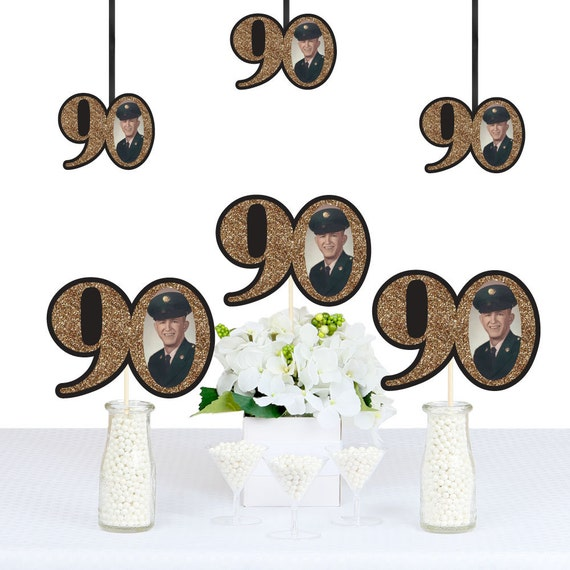 Adult 90th Birthday Gold DIY Photo Decorations