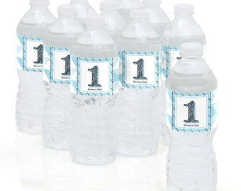 Fun to be One - 1st Birthday Boy - Water Bottle Sticker Labels - Personalized Waterproof Self Stick Labels - Birthday Party Favors - 10 Ct.
