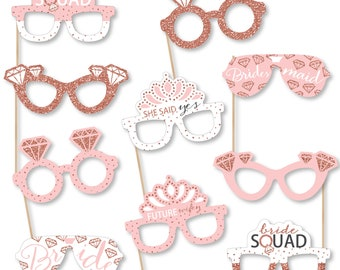 Bride Squad Glasses - Paper Card Stock Rose Gold Bridal Shower or Bachelorette Party Photo Booth Props Kit - 10 Count
