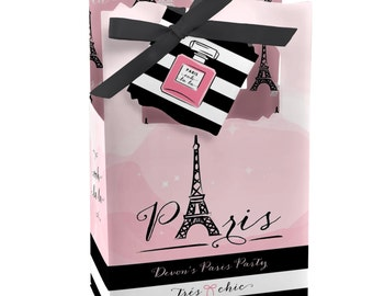 Paris Favor Boxes - Custom Baby Shower and Birthday Party Supplies - Set of 12