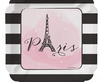 8 Count - Paris, Ooh La La - Dinner Plates - Baby Shower or Birthday Party Supplies
