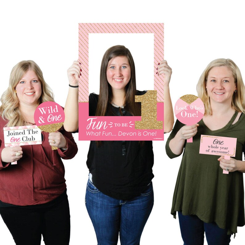 Personalized First Birthday Party Selfie Photo Booth Picture Frame /& Props Printed on Sturdy Material 1st Birthday Girl Fun to be One